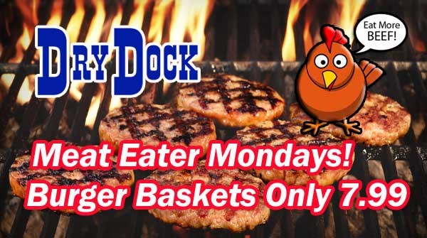 Burger Baskets at Dry Dock Restaurant for Only $7.99 on Mondays